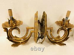 Pair Arte De Mexico Wrought Iron Wall Light Fixture Gold Reale 2 Sconces WM136-2