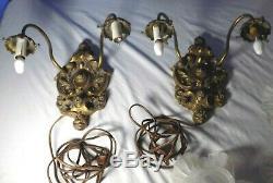 Pair BRONZE Antique Light Fixtures Victorian Brass Wall Lamps