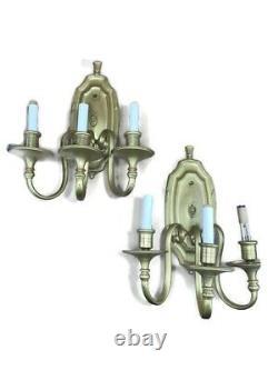 Pair Brass Electric Wall Sconces Light Fixture 3 Arm Candle Vintage Antique Gilt
