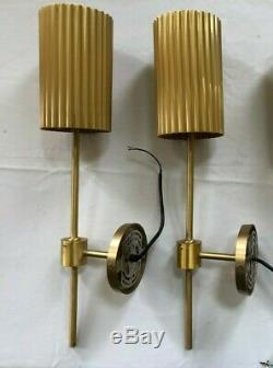 Pair CB2 Fluted Gold Wall Sconce One NIB/One New Other