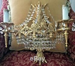 Pair Chandelier Wall Sconces Crystal Beaded French Inspiration 4 Light Each