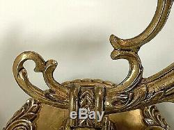 Pair Continental Spanish Brass 2 Arms Wall Sconces, wired