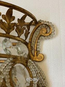 Pair Crystal Beaded Baguette Wall Sconces Gilt Metal French Maison Bagues Style