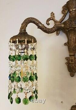 Pair Crystal Down Light Wall Sconces, Vintage with Emerald Green & Clear Crystal
