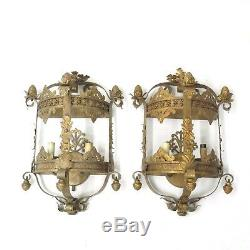 Pair Currey & Company Antique Gold Gilt French Tole Shabby Wall Sconce Lamp