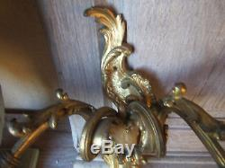Pair FRENCH ROCOCO BRONZE SCONCE Ca 1900 Wall Lights Gold one HEADED glass tulip