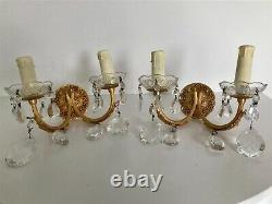 Pair French Antique 2 Arm Candle Crystal Sconce Electric Wall Lights