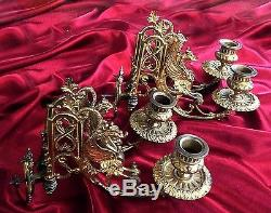 Pair French Antique Gilded Bronze Wall/ Piano Sconces/ Candleholders Dragons