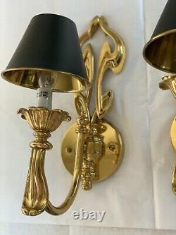 Pair French Art Nouveau Brass Bouillotte Wall Sconce Lamp