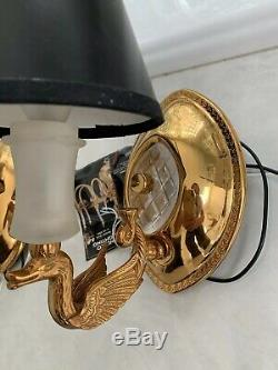 Pair French Directoire Brass Swan Bouillotte Lamp Wall Sconces NULCO