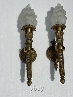 Pair French Empire Neoclassical Style Bronze Brass Torch Torchiere Wall Sconces