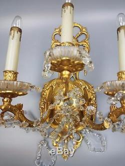 Pair Gold Gilt Bronze 3 arm Wall Sconce Regency Rococo Dripping Lustre Prisms