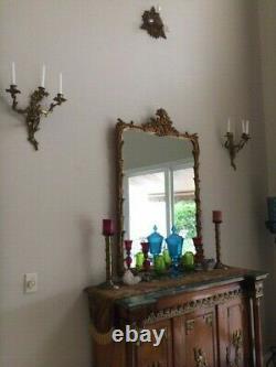 Pair Gold Vintage Antique Ornate Nouveau French Bronze Brass Wall Sconces