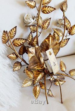 Pair Gorgeous Antique Italian Tole Rose Gilt Wall Sconces Gorgeous