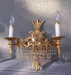 Pair Hollywood Regency Crystal Gilt Wall Lighted Sconces