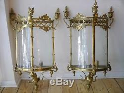Pair Huge 2 Light Brass Lantern Wall Chandelier Lamp Glass Foyer Sconces Old