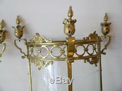 Pair Huge 2 Light Brass Lantern Wall Chandelier Lamp Glass Foyer Sconces Old