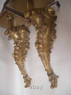 Pair Huge 30 Custom Gold Gilt Acanthus Leaf Wall Lamp Sconce Italy French Style