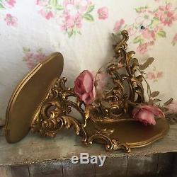 Pair Italian Carved Gilt Wood Sconces wall shelves