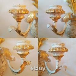 Pair Italian Gold Wall Sconces White Gilt Wooden Metal Tole Acanthus Leaf Candle
