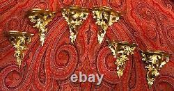 Pair Italian Ornate Florentine Hand Carved Wood Wall Sconce Shelf