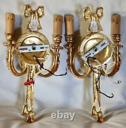 Pair Italian Ribbon & Tassel Gilt Bronze 2-Arm Candle Wall Light Sconces 15
