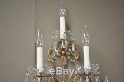Pair Italian Six Light Crystal Wall Sconces Gold Tone Finish