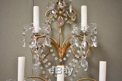 Pair Italian Six Light Crystal Wall Sconces Gold Tone Finish 29 Tall