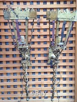 Pair LARGE Vintage Spanish Wall Sconces Torchieres Gilded Wrought Iron Electric