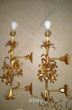 Pair Large 22 x 11 Hollywood Regency Gold Iron Lily Wheat Wall Sconces VGC