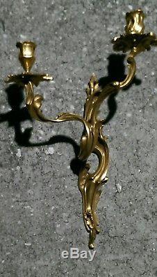 Pair Louis XV Bronze Dore Ormolu Wall Sconces Appliique 18th Century Model