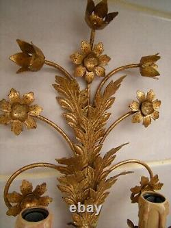 Pair Mid Century Italian Gilt flower leaf Wall Sconces Hollywood Regency, Tole