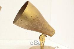 Pair Mid century modern BRASS LAMPS MCM SPACE AGE SPOTLIGHT wall sconce set of 2