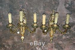 Pair Of Antique Gilded Bronze Three Light Wall Sconces, French, 19th Century