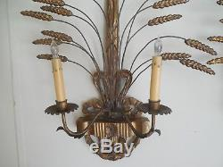 Pair Of Antique Italian Gilt Metal & Wood Two Arm Sheaf Of Wheat Wall Sconces