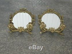 Pair Of Chic French Louis 16 Style Candelabra Wall Mirrors