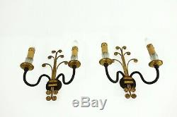 Pair Of Fine Vintage Sconces Wall Lamps Hollywood Regency Maison Bagues (attr.)