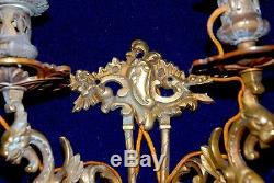 Pair Of Gorgeous Antique French Gilded Bronze/ Brass Wall Sconces Dragons