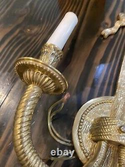 Pair Of Ornate Antique Gold Brass Wall Sconces 2 Arm Bow 23 Tall Wired Ornate