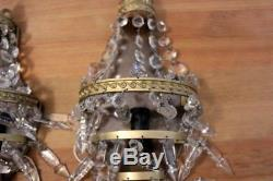 Pair Of Vintage French Gilded Empire Style Basket Prism Wall Sconces