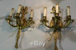 Pair Of Vintage Ornate 3 Arms Brass Wall Sconce Light Fixture With Prism