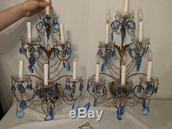Pair Of Vtg Hollywood Regency Italian Gold Gilt Blue Crystal Chains Wall Sconces