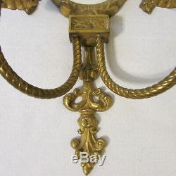Pair Ornate Vintage Large Brass Wall Double Candle Sconces with Beveled Mirrors