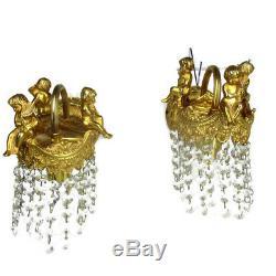 Pair Petite Empire Putti Cherub Prisms Chandelier Sconces Wall Lamps Lights
