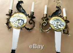 Pair Solid Brass and Crystal Peacock Wall Sconces
