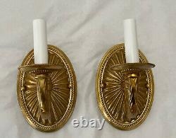Pair Stately Bronze Brass Italian French Horn Single Arm Wall Sconce Sconces
