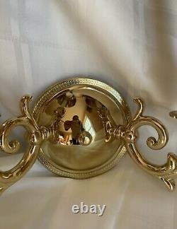 Pair Stately Solid Brass Bouillotte Wall Sconce Sconces Lamp