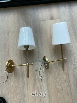 Pair VISUAL COMFORT Bryant Thomas O'Brien Antique Brass with Glass Wall Sconce