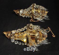 Pair VTG Brass & Glass Prisms Wall Sconces Lights