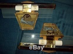 Pair VTG Mid-Century MCM art deco brass wall sconce light fixture frosted glass